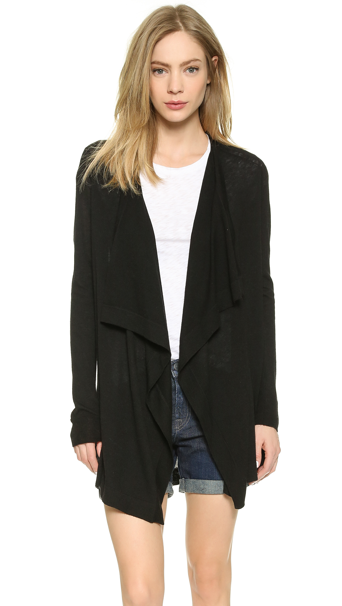 faux clothing drape cardigan product in leather normal michael lyst kors draped black drapes gallery