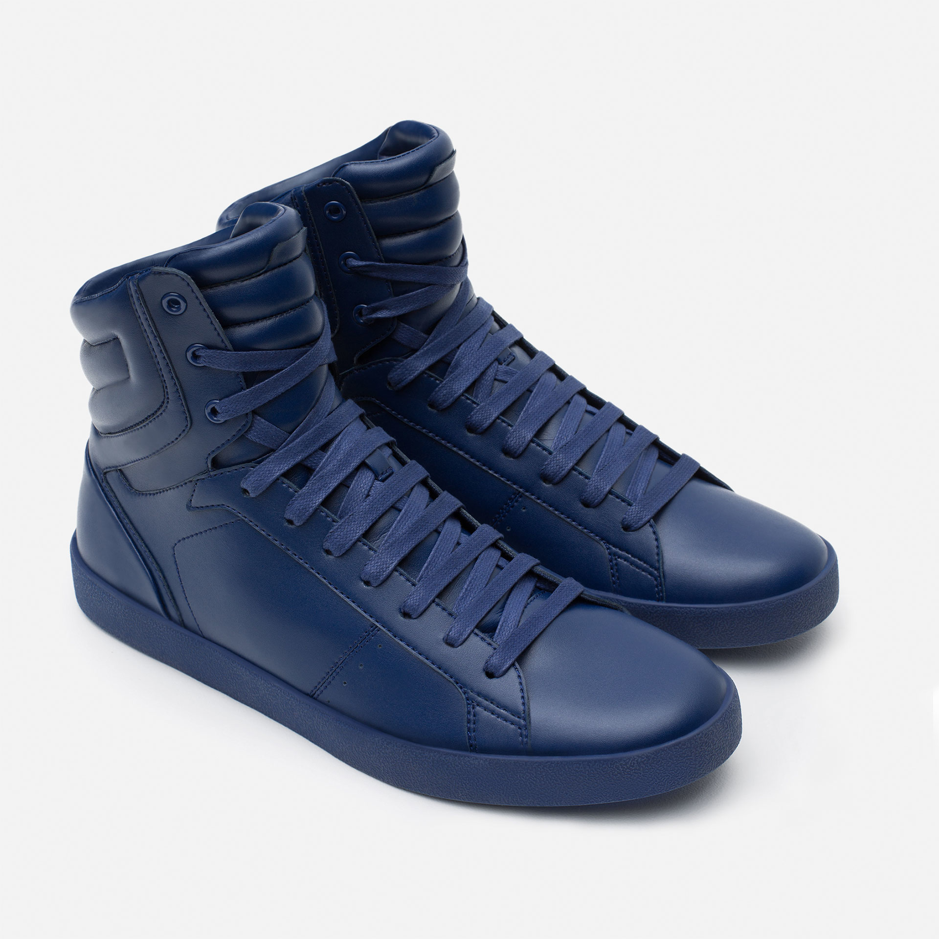Zara Block Color Faux Leather High Top Sneakers In Blue