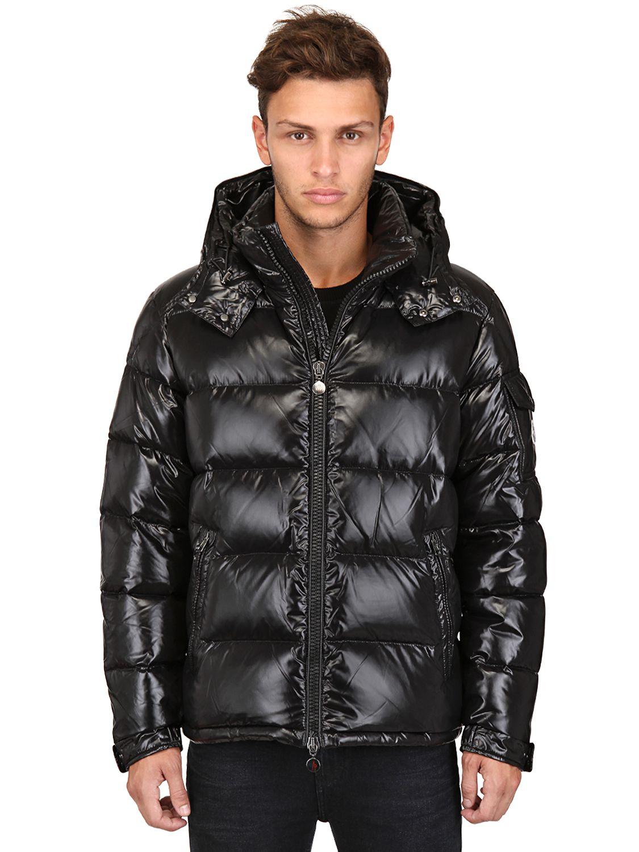 black shiny moncler jacket