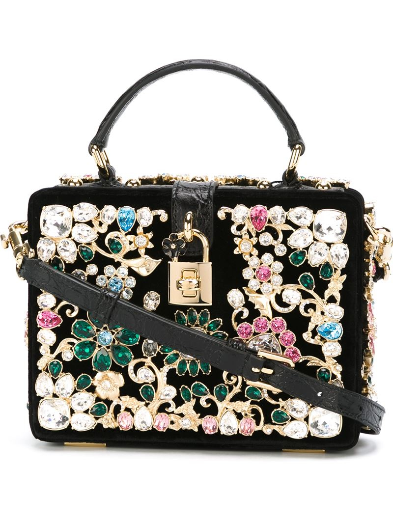 Lyst - Dolce   Gabbana Embellished Leather Cross-Body Bag in Black 1300c062ccfa1