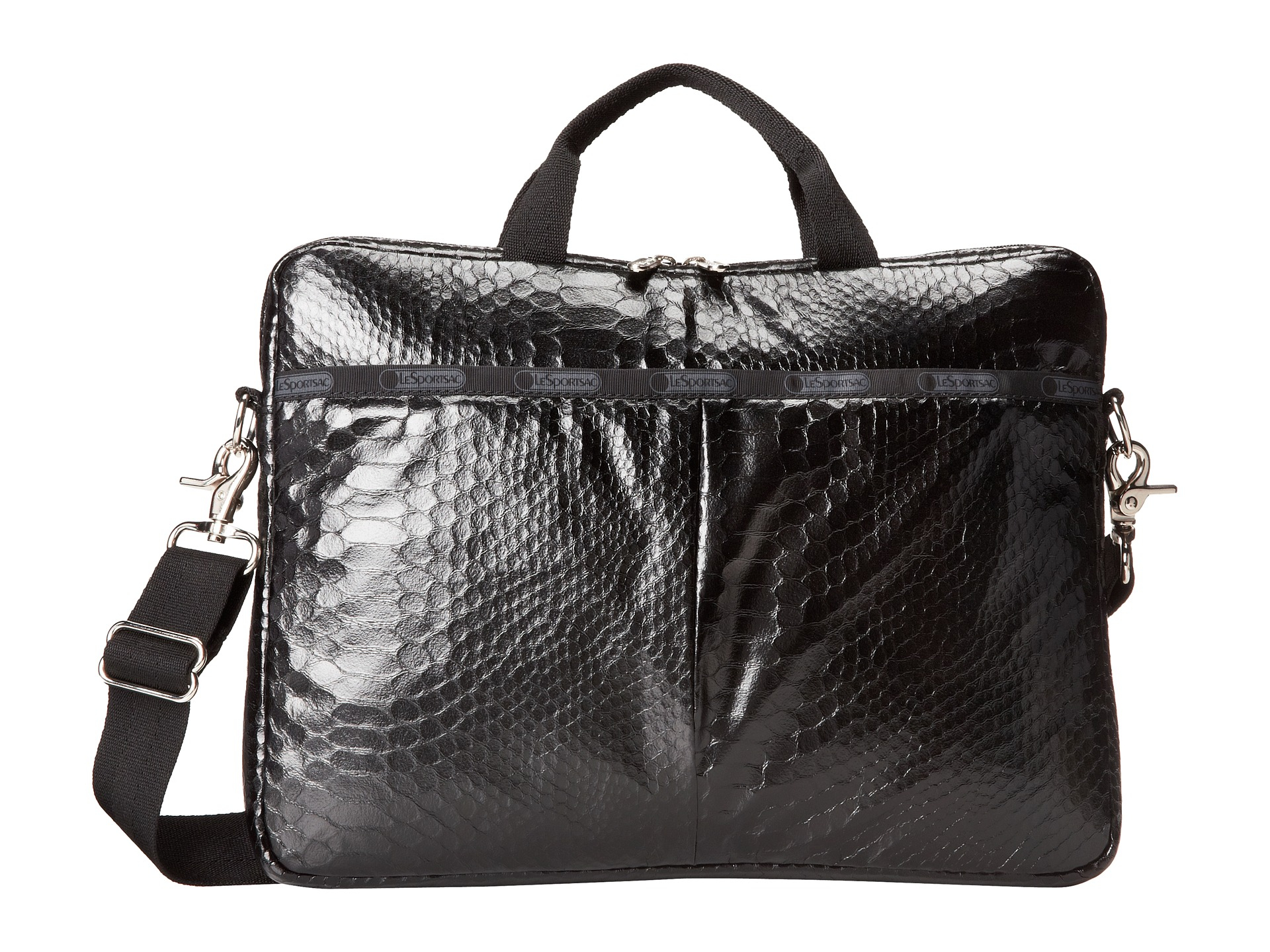 lesportsac 13 inch laptop bag in animal leatherette snake