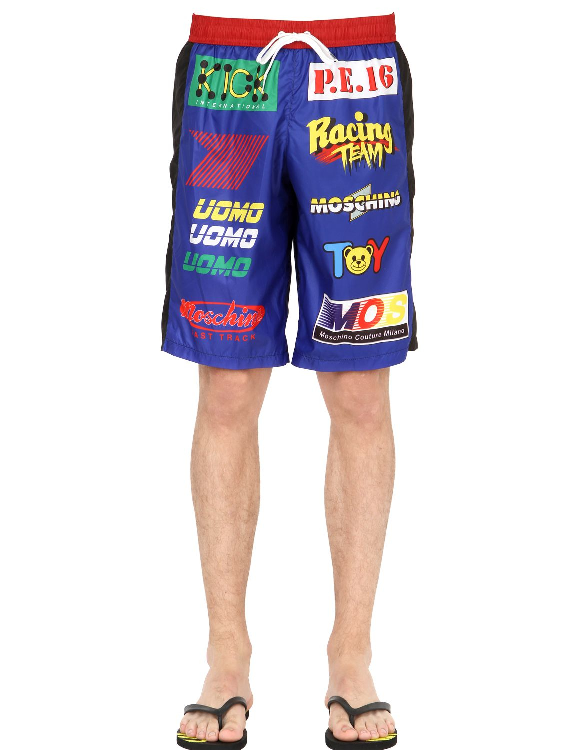Moschino Racing Sponsors Nylon Swimming Shorts In Blue For