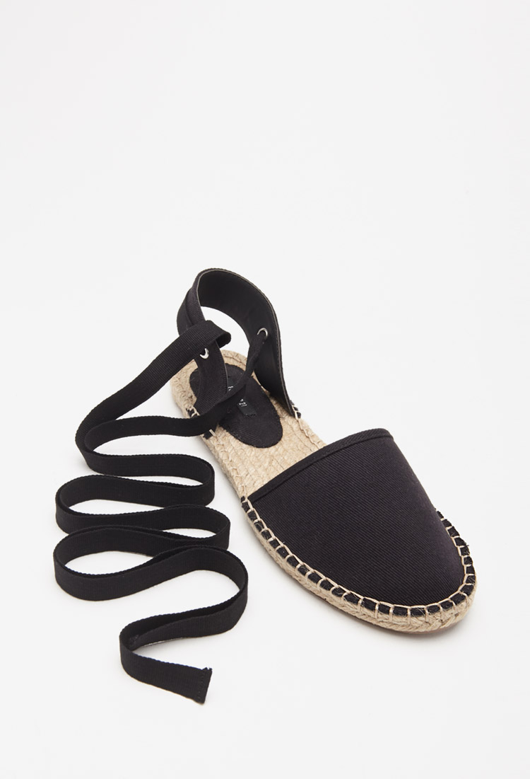 764980271b1c Lyst - Forever 21 Lace-up Espadrille Flats in Black