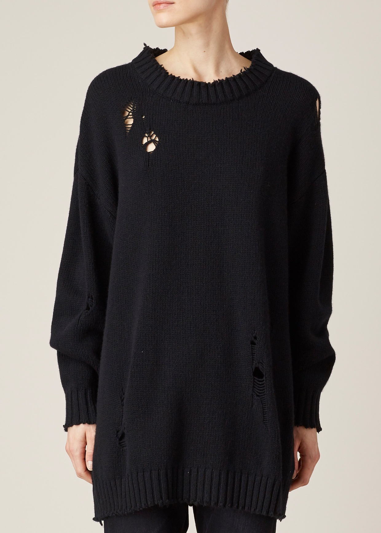 R13 Black Big Slouchy Crew Sweater in Black | Lyst