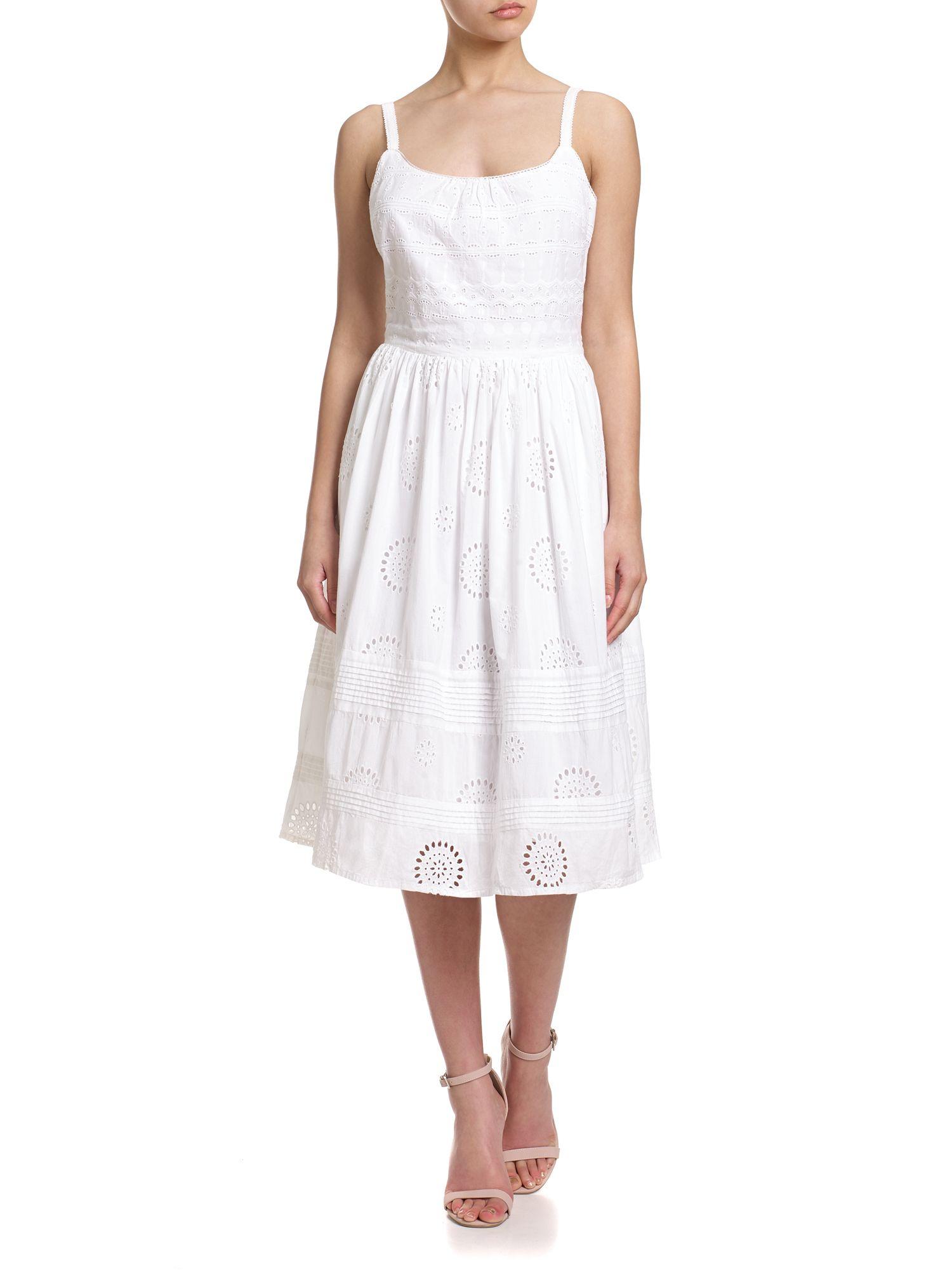 Adrianna Papell Eyelet Spaghetti Strap Sundress In White