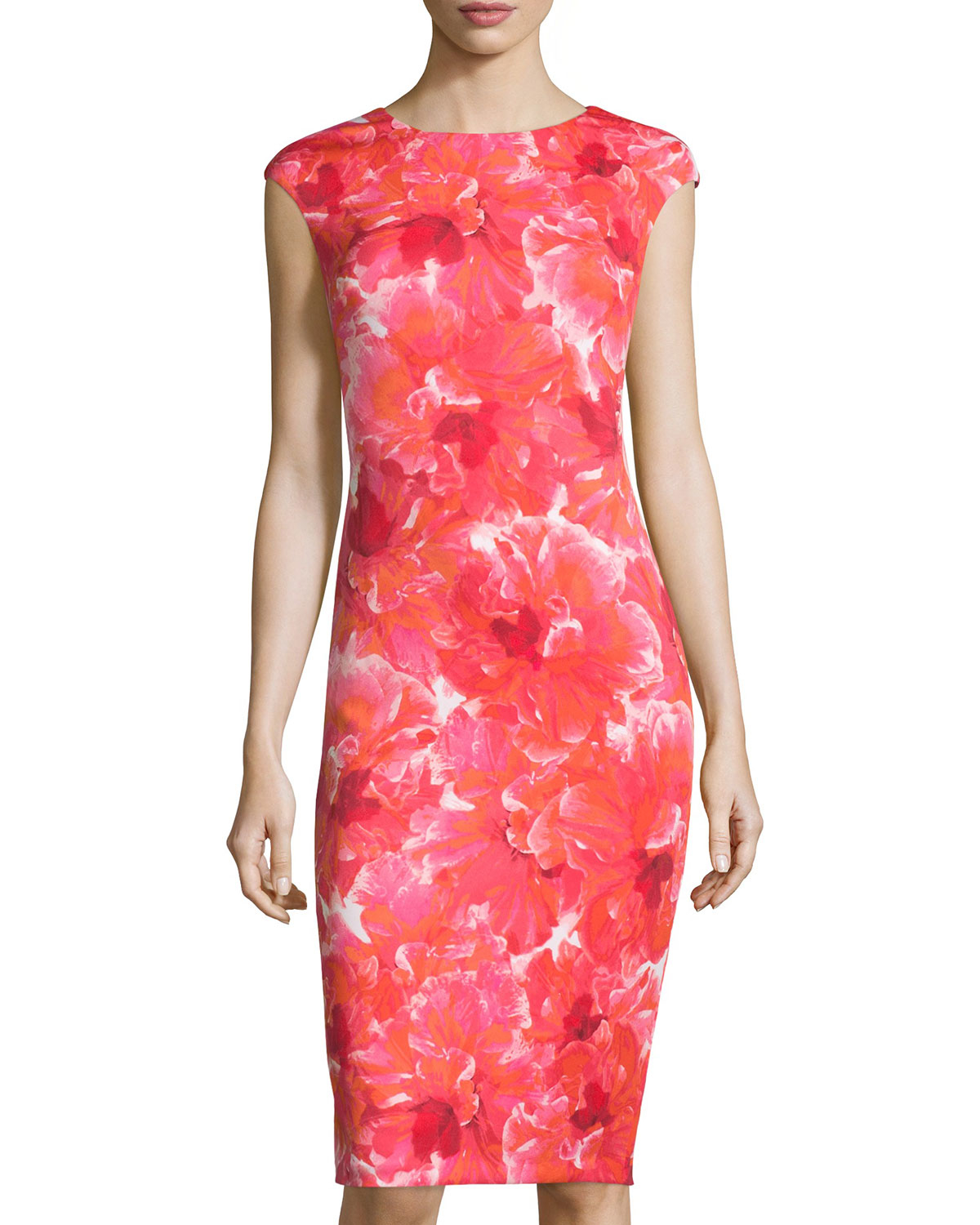 5c97acc0 Maggy London Floral Scuba Cap-sleeve Midi Dress - Lyst