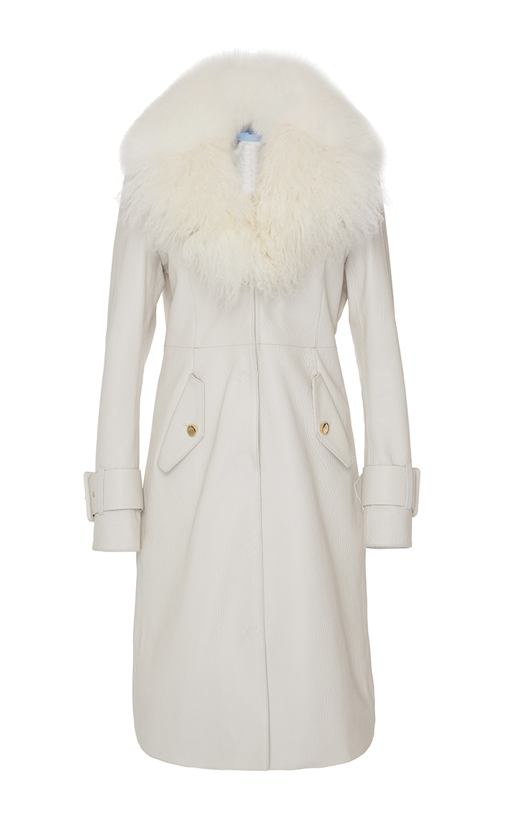 Blumarine Leather Trench Coat With Shadow Fox And Mongolian Fur ...