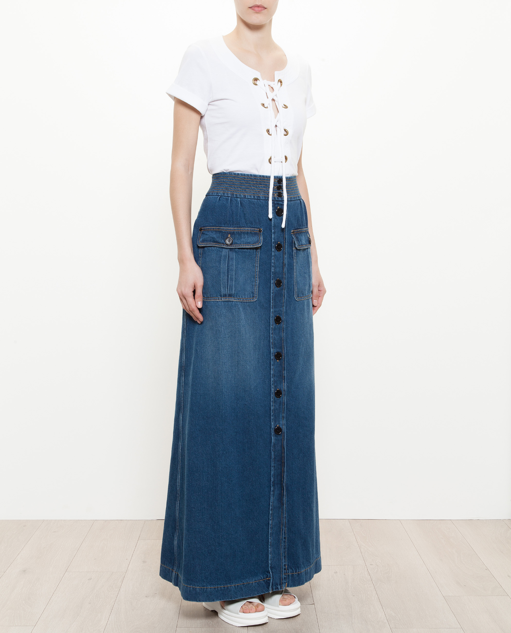 1bb1922d8a49 Lyst - Chloé Long Denim Skirt in Blue