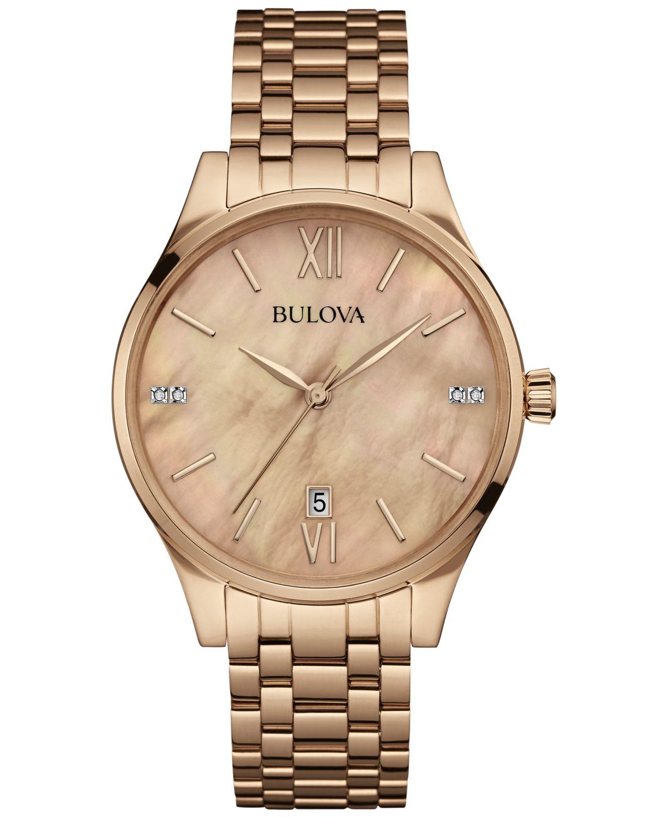 Bulova Women's Diamond Accent Rose Gold-tone Stainless ...