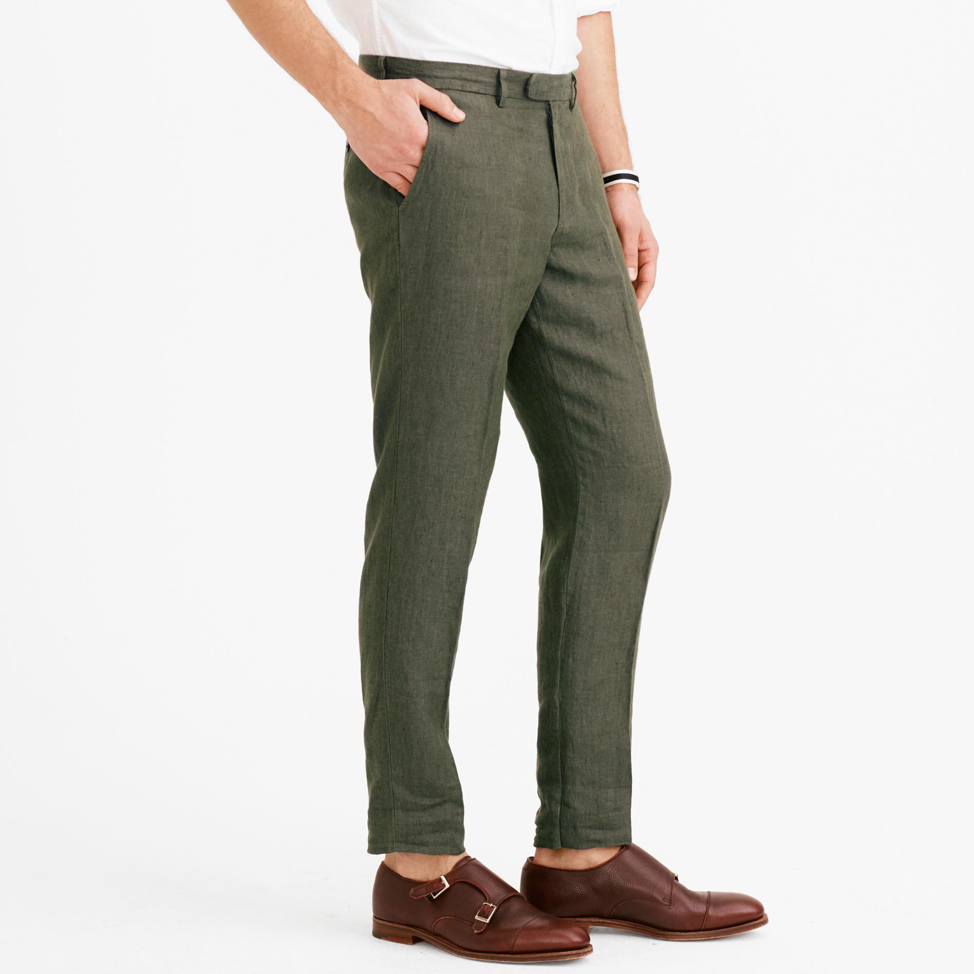J.crew Bowery Slim Pant In Irish Linen Herringbone in Natural for ...