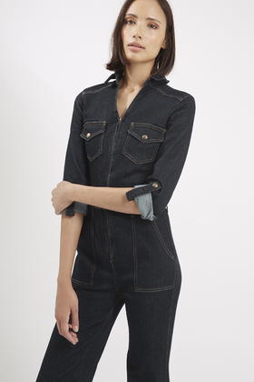 Lyst Topshop Moto Flared Denim Boilersuit In Blue