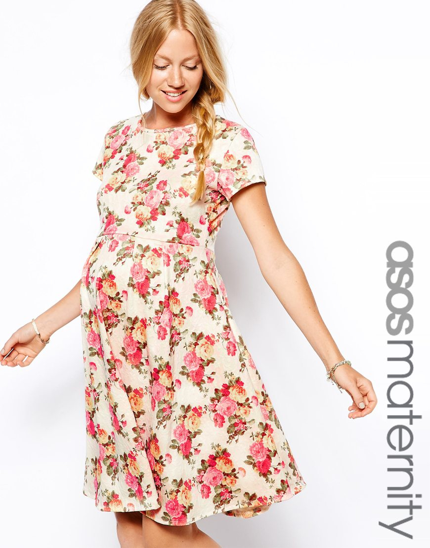 Lyst asos exclusive textured skater dress in vintage floral print gallery ombrellifo Choice Image