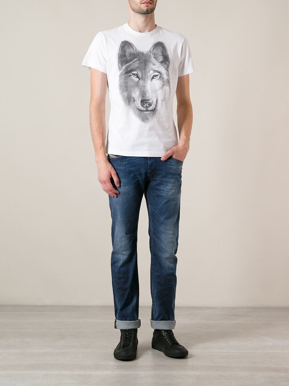 Diesel Wolf Print T Shirt In Gray For Men Lyst