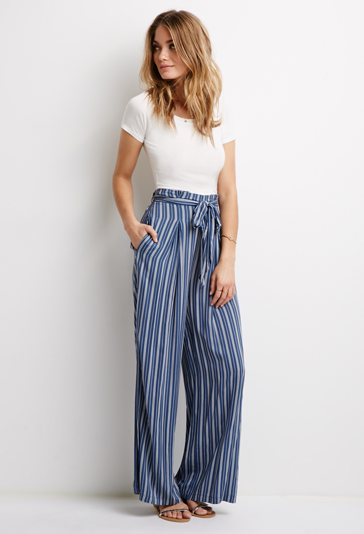 Lyst Forever 21 Contemporary Striped Self Tie Waist