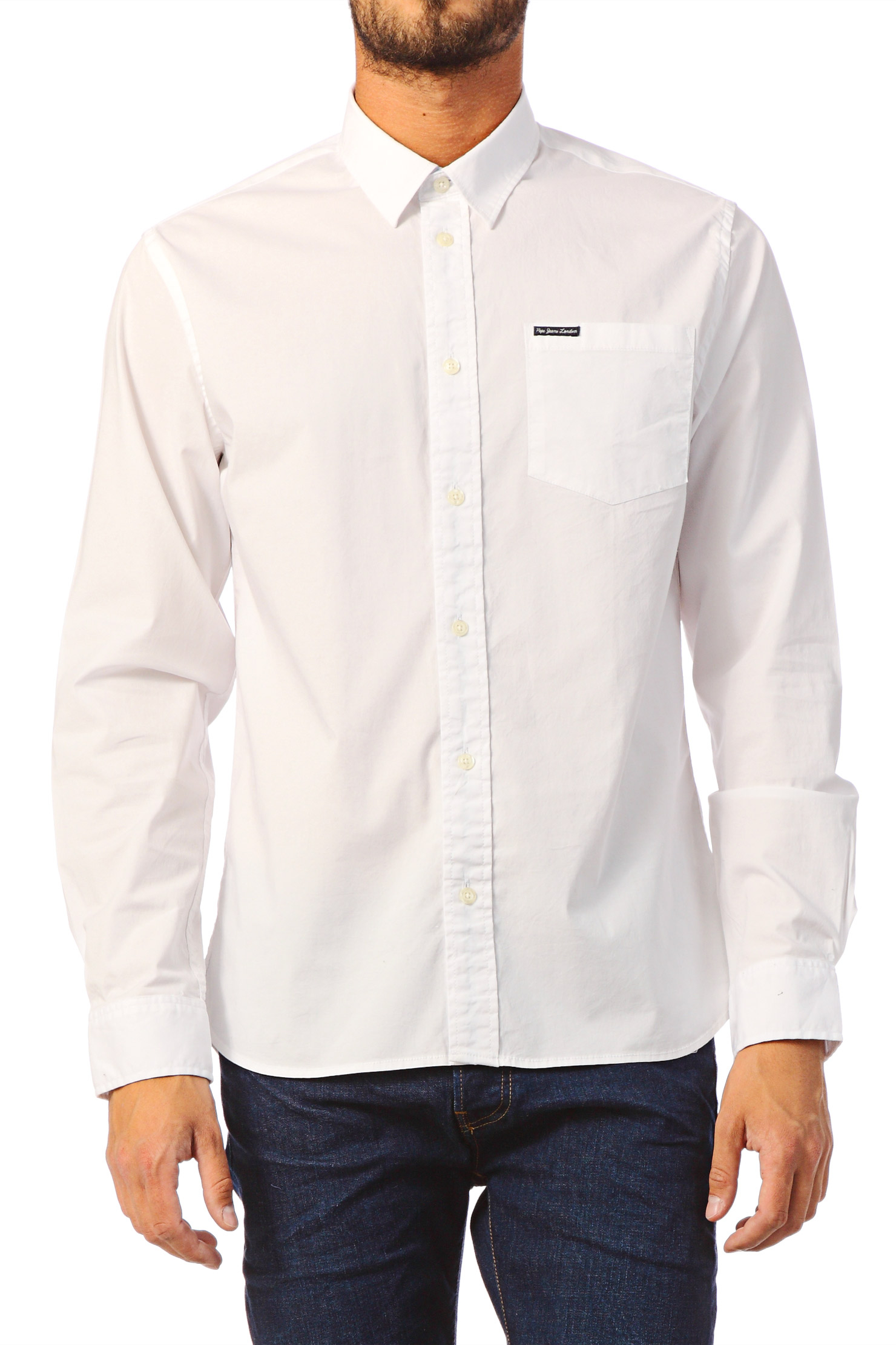 Pepe jeans long sleeve shirt in white for men lyst for White pants denim shirt