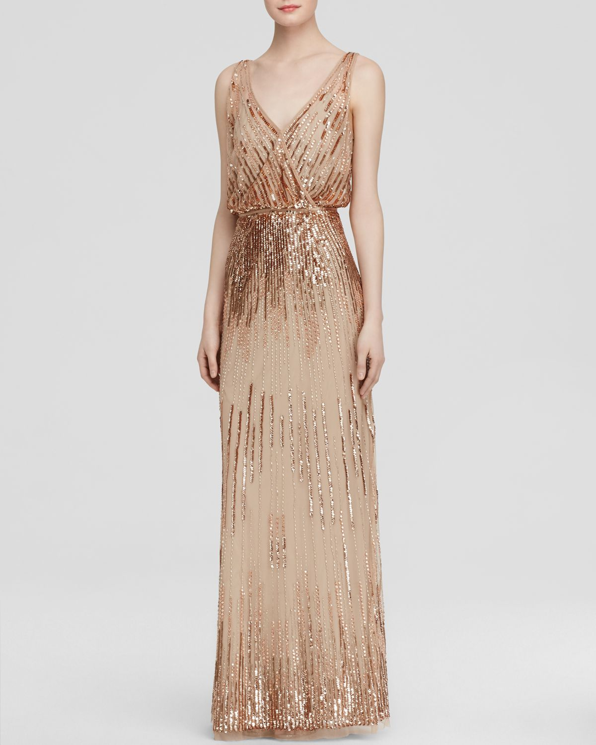 Lyst Adrianna Papell Gown Sleeveless V Neck Disco