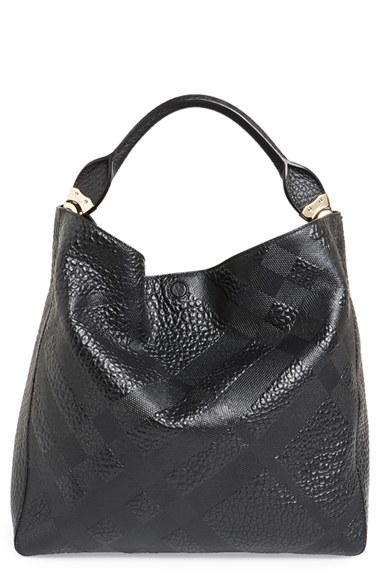 5c8821477b42 Lyst - Burberry  medium Lindburn  Check Embossed Leather Hobo in Black