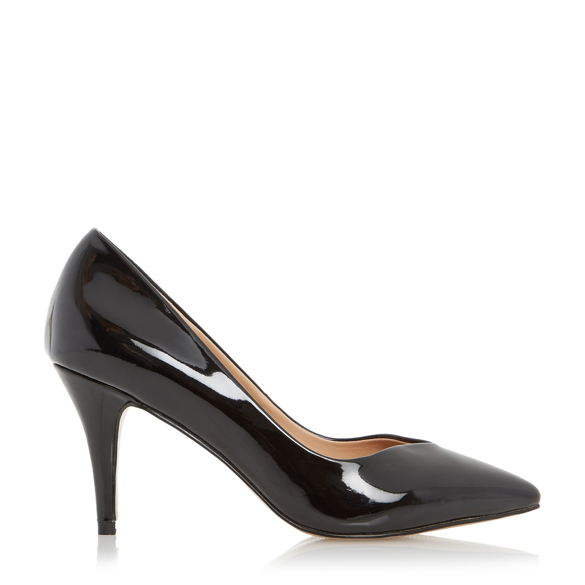 linea aimi pointed toe mid heel court shoe in black lyst