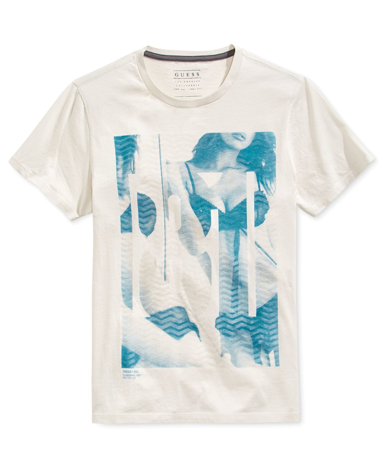 Lyst Guess Mens Eighty One Graphic Print T Shirt In Gray For Men