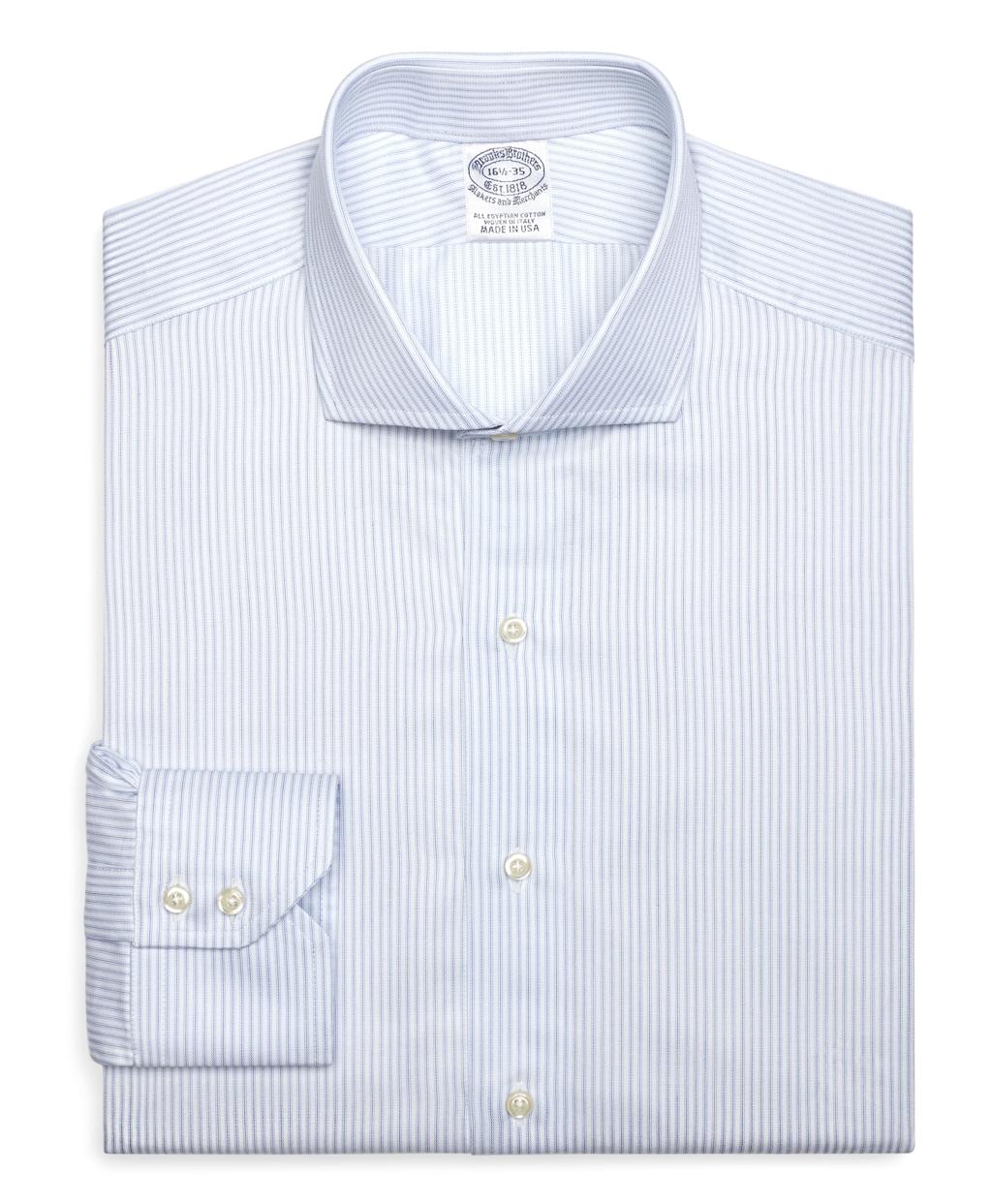 Lyst brooks brothers slim fit pencil stripe dress shirt for Brooks brothers dress shirt fit guide