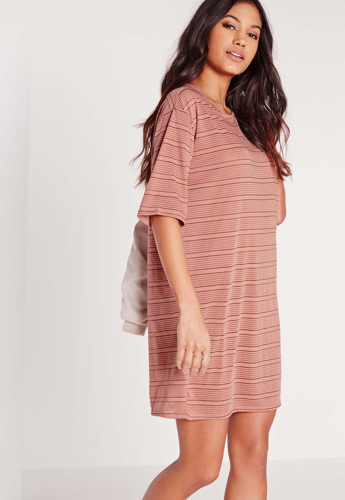 Missguided Oversized Sheer Stripe T-shirt Dress Rose/black in Pink ...
