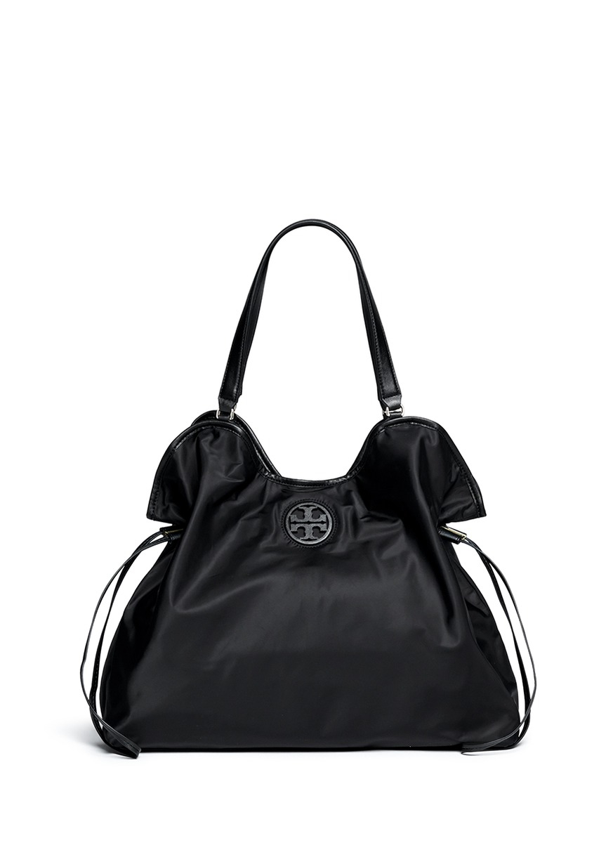 f988c2bf0d4b Lyst - Tory Burch Drawstring Nylon Tote in Black