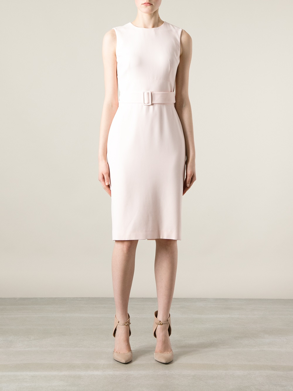 mcqueen belted pencil dress in pink pink