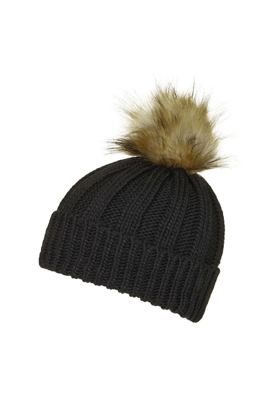 8ca2c2c5277 TOPSHOP Faux Fur Pom Beanie in Black - Lyst