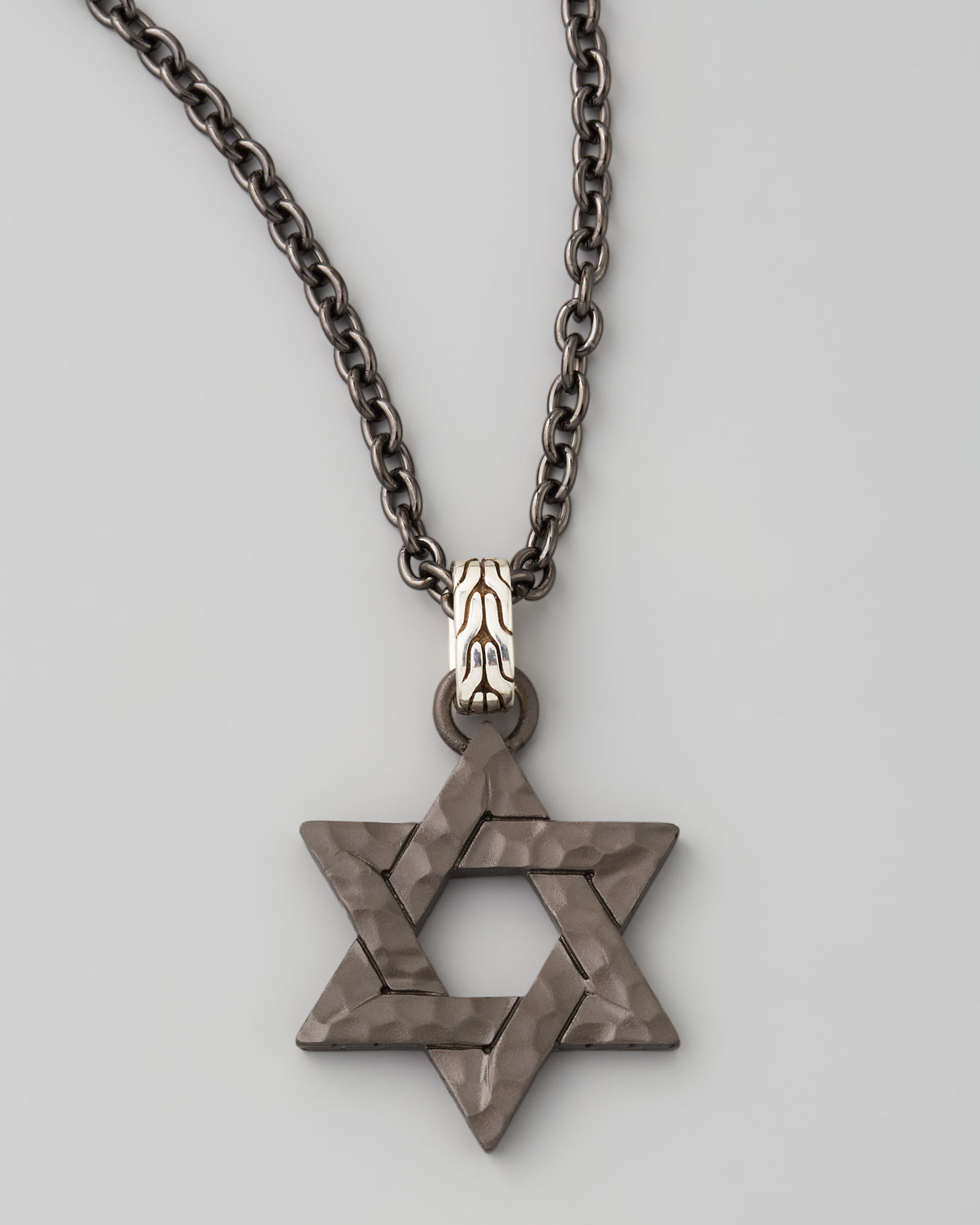 Lyst john hardy blackened star of david necklace in black for John hardy jewelry factory bali