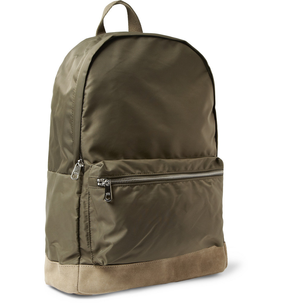 A.p.c. Suedetrimmed Backpack in Green for Men