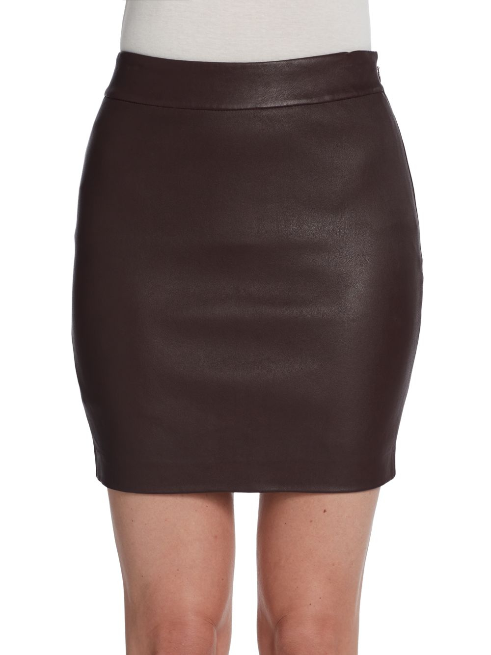 t by wang stretch leather mini skirt in brown lyst