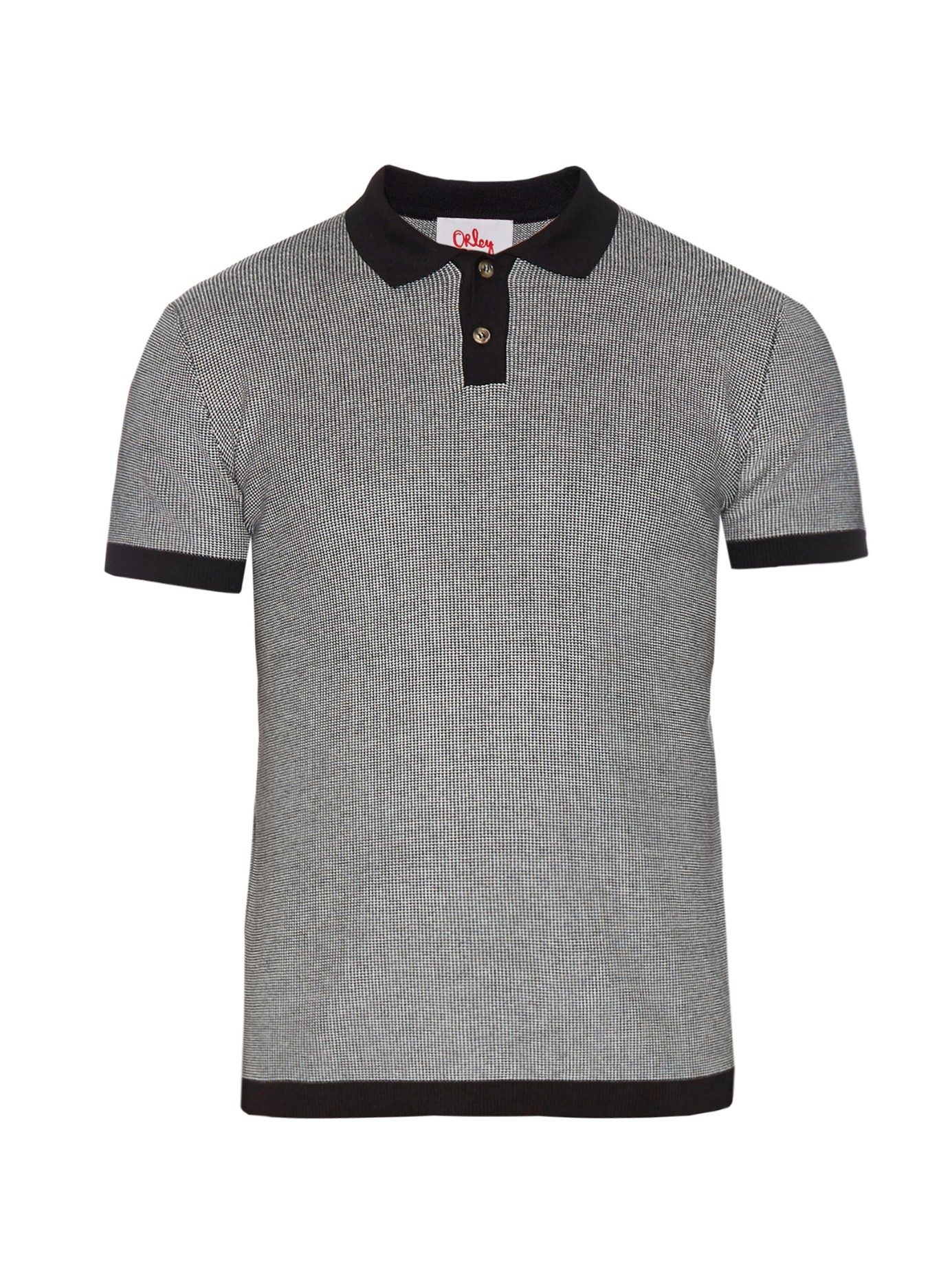 Orley micro stitch cotton polo shirt in black for men for Black cotton polo shirt