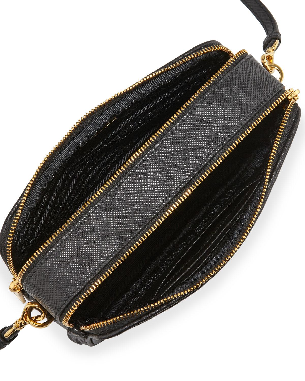 prada saffiano mini crossbody bag in black lyst. Black Bedroom Furniture Sets. Home Design Ideas