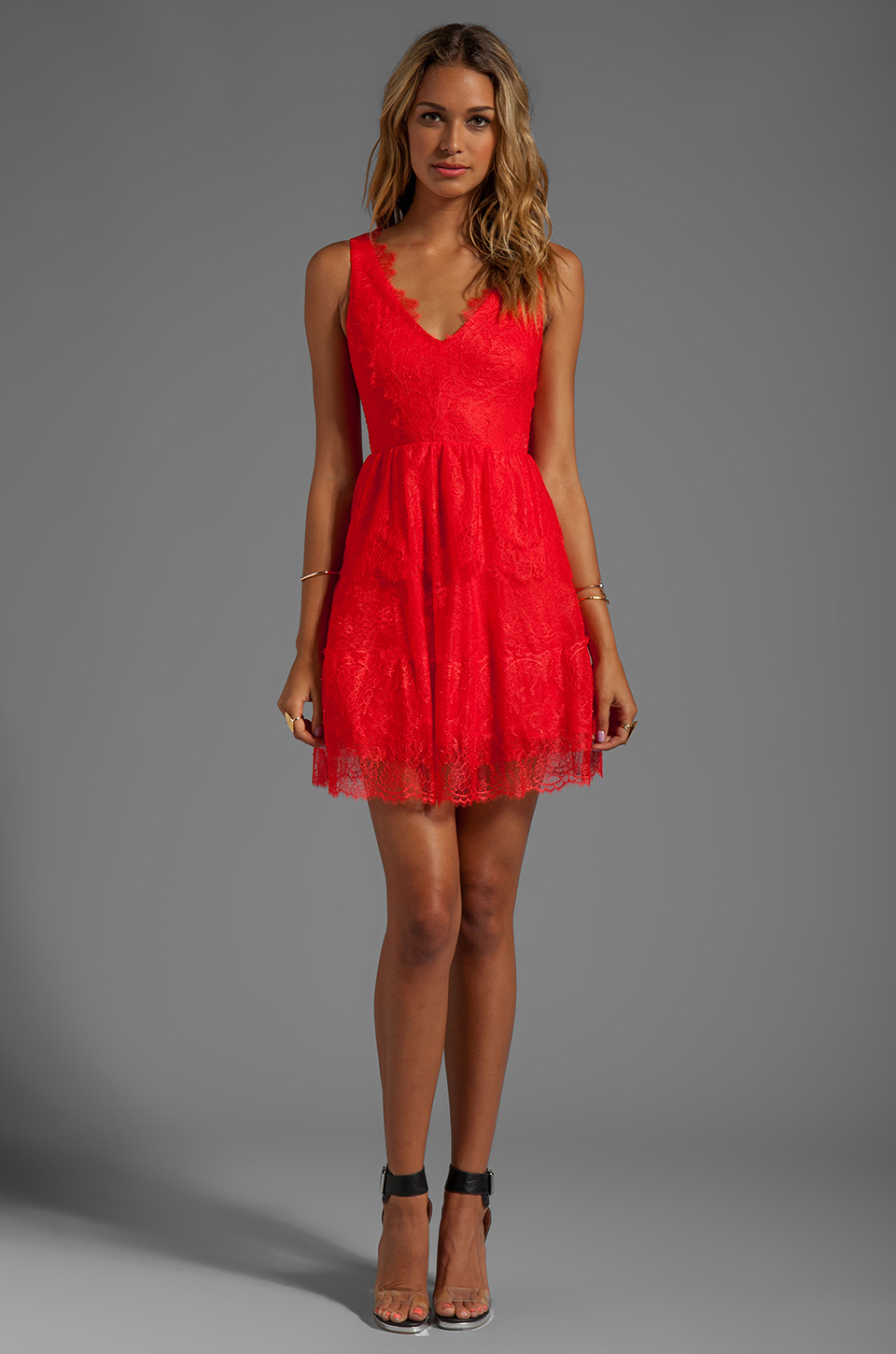 Lyst - Bcbgmaxazria Sleeveless Lace Dress in Red in Red