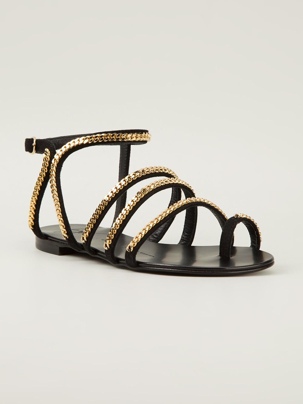 Giuseppe Zanotti Chain Embellished Sandals In Gold Black