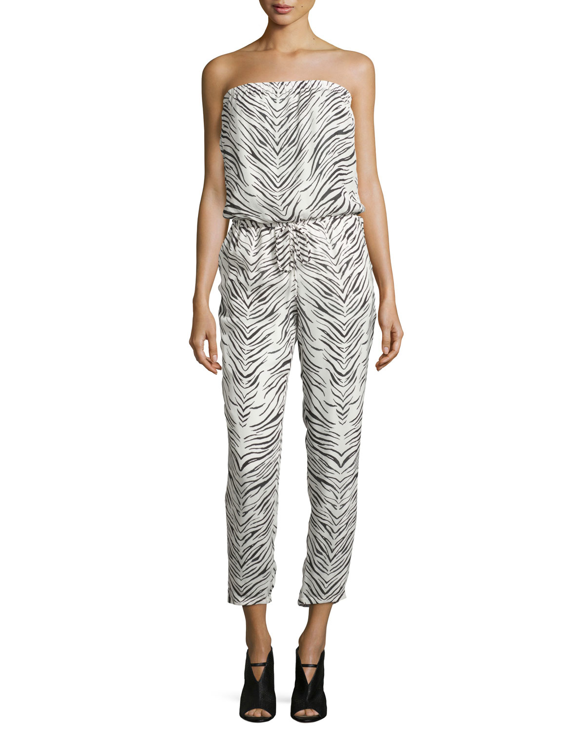 ceb5992cd83 Lyst - Haute Hippie Strapless Zebra-print Jumpsuit in Black