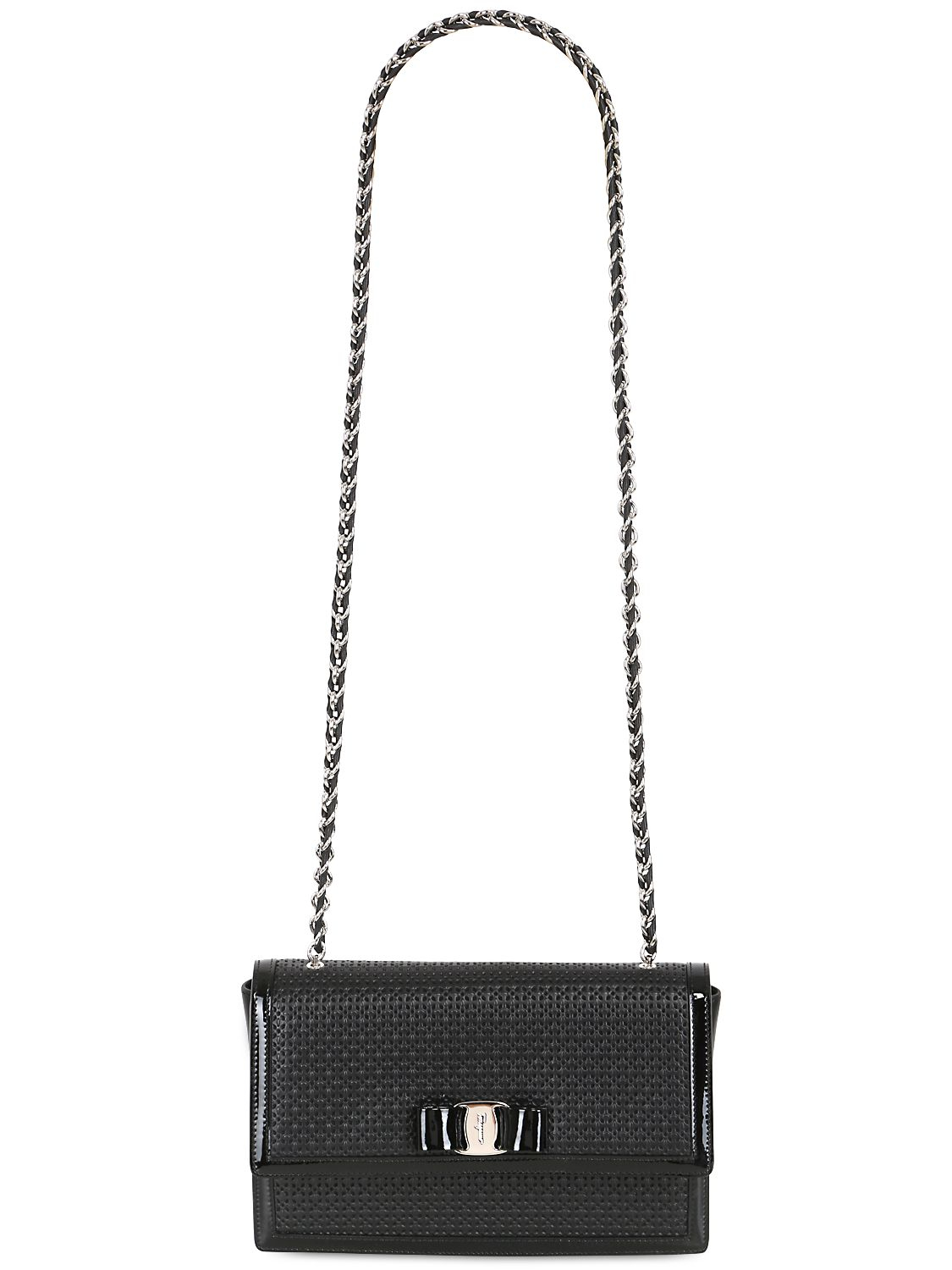 f490ab78e903 Ferragamo Medium Ginny Laser Cut Leather Bag in Black - Lyst