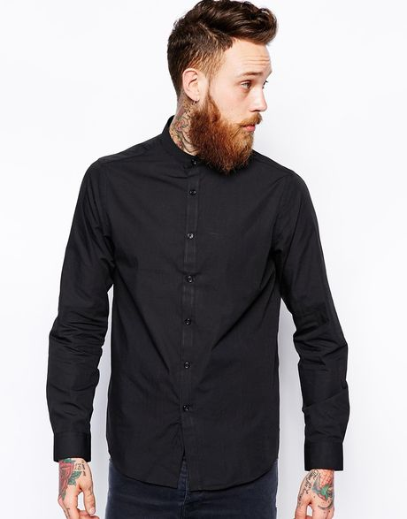 Asos Smart Shirt With Grandad Collar In Long Sleeve In