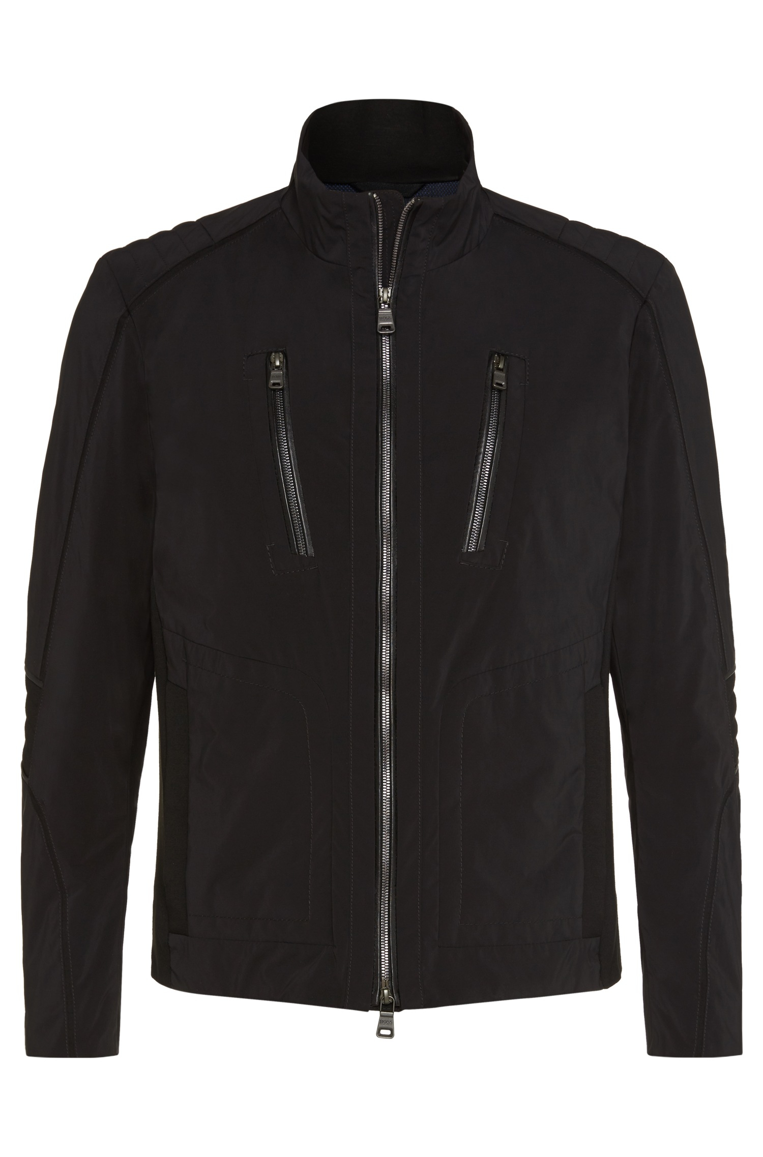 Lyst boss 39 chead 39 mercedes benz nylon jacket in black for Mercedes benz sweater
