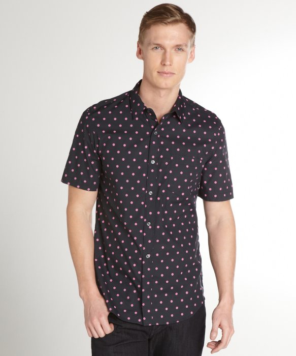 French connection navy and pink polka dot cotton short for Mens polka dot shirt short sleeve