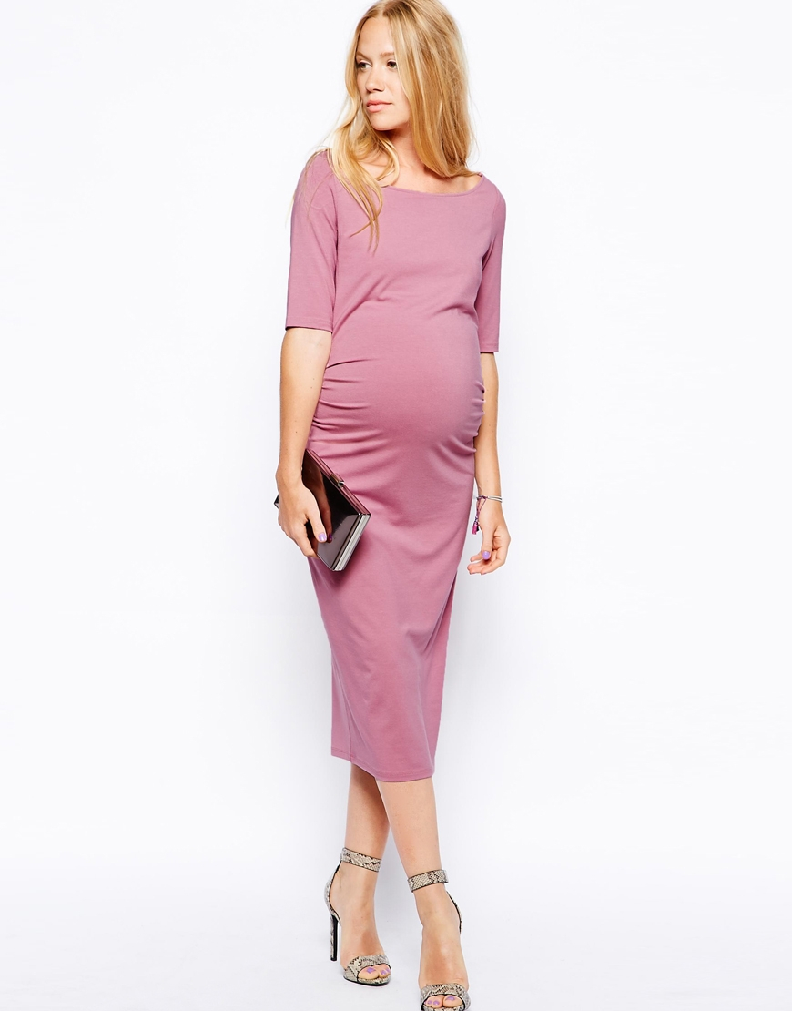 ad180b5326 ASOS Exclusive Bardot Dress With Half Sleeve in Pink - Lyst