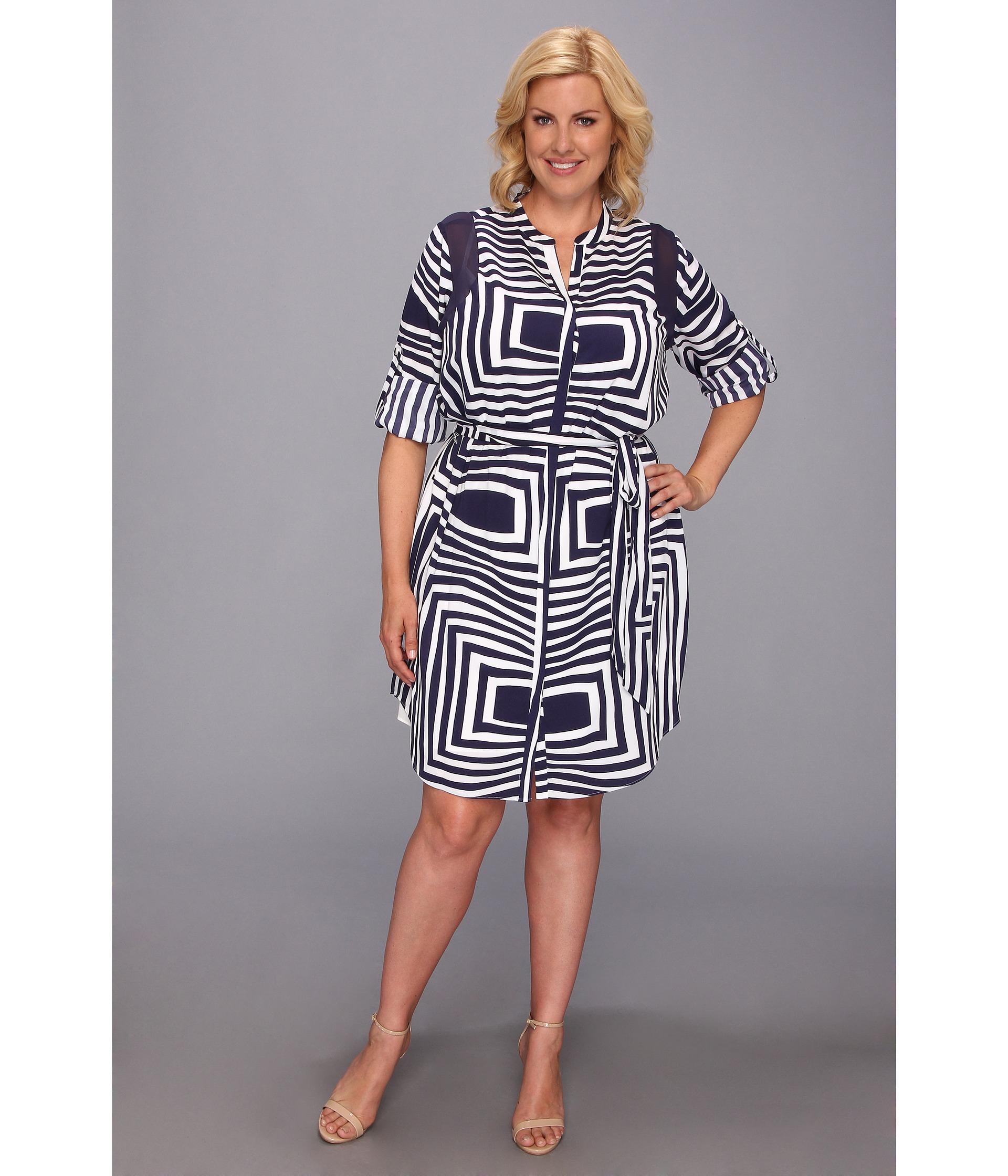 756d5c7f9ce8 DKNY Plus Size Roman Stripe Crepe De Chine Ls Yneck Shirt Dress W Chiffon  Shoulder Insert in Blue - Lyst