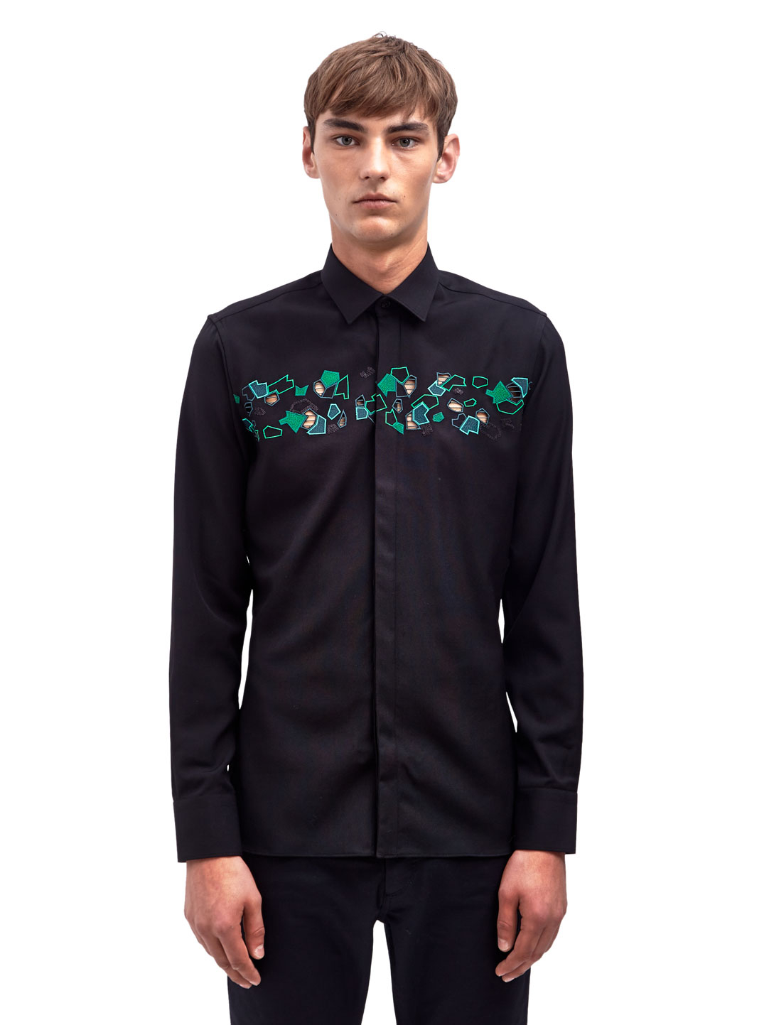 Lyst lanvin mens slim fit embroidered long sleeved shirt for Men slim fit shirts