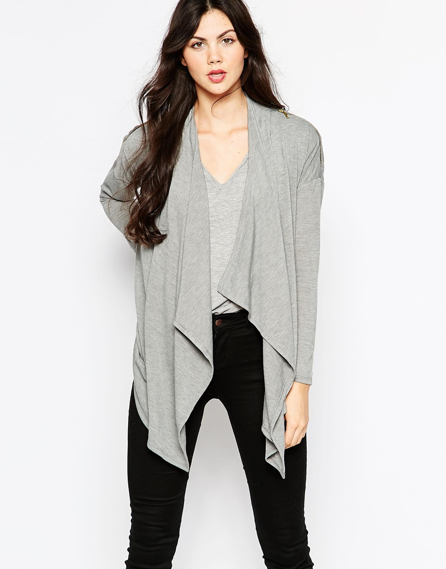 Wal-g Cardigan With Waterfall Front in Gray | Lyst