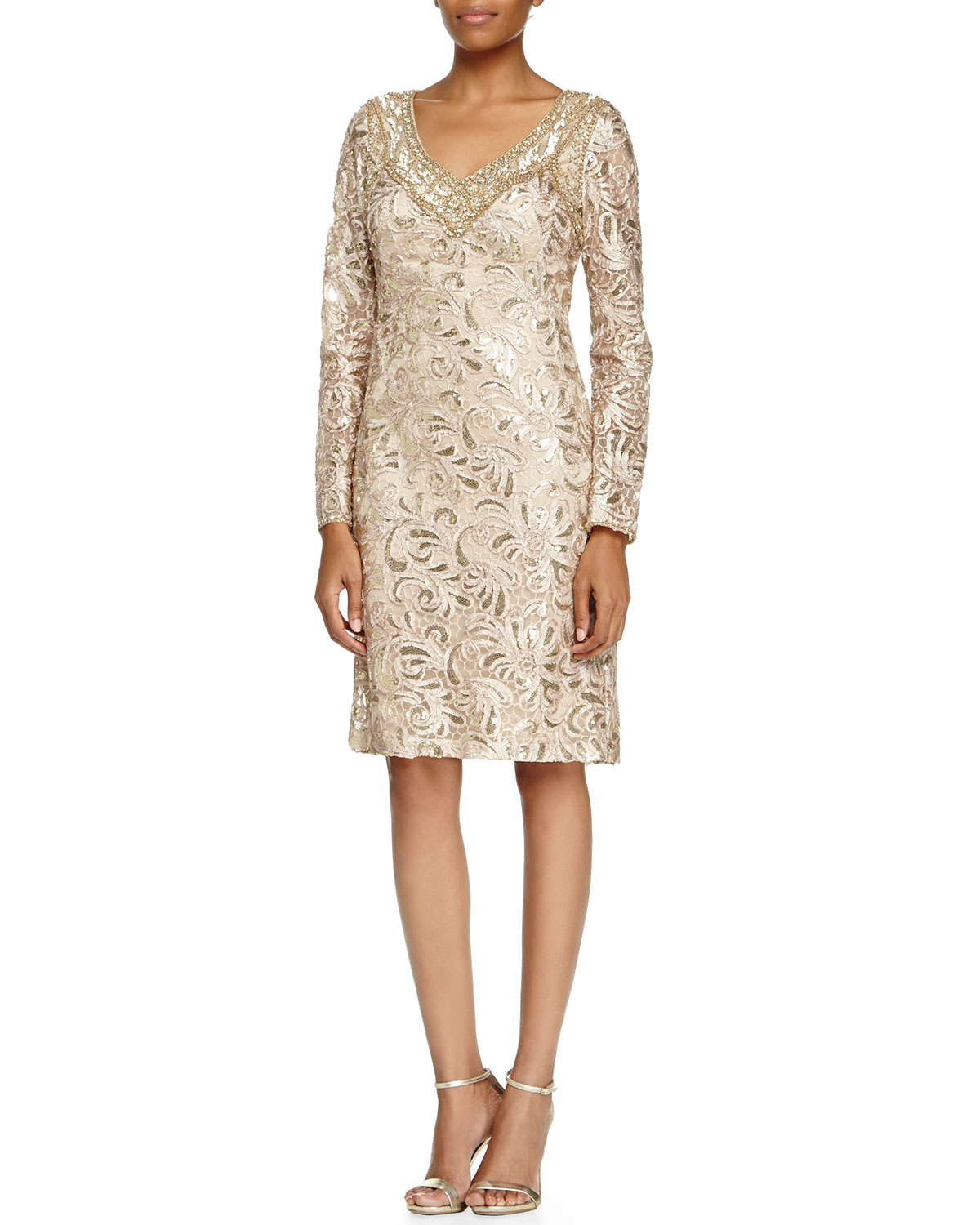 Lyst Sue Wong Long Sleeve Sequined Lace Cocktail Dress