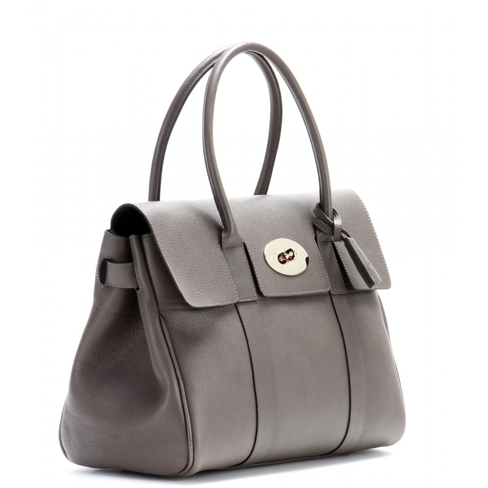 Mulberry bayswater small leather tote in gray lyst for The bayswater