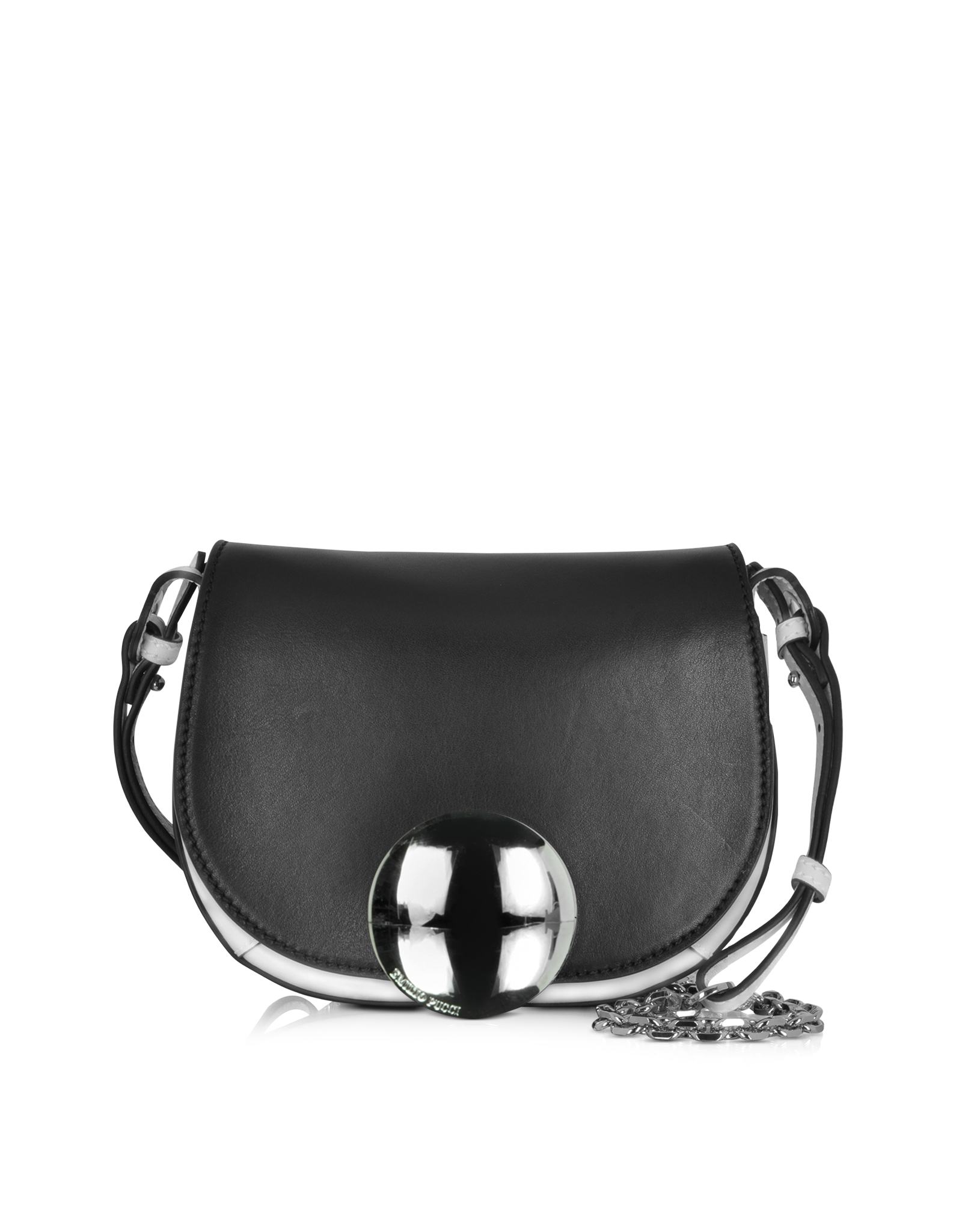emilio pucci mini janis black ivory leather shoulder bag