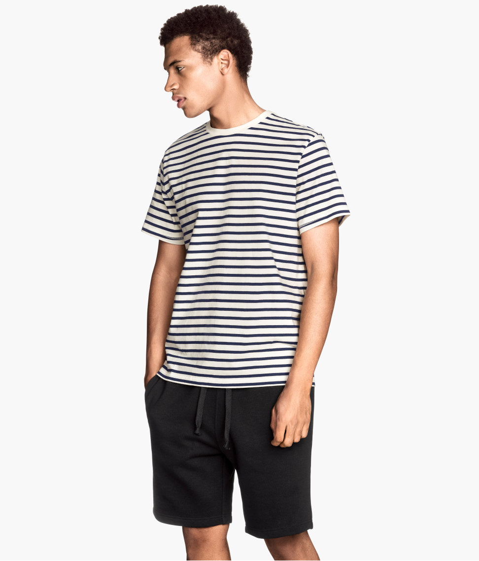 Lyst H M Striped Tshirt In Black For Men