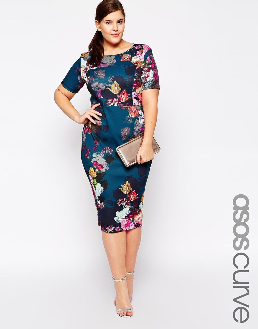 Lyst - Asos Floral Print Scuba Bodycon Dress in Blue