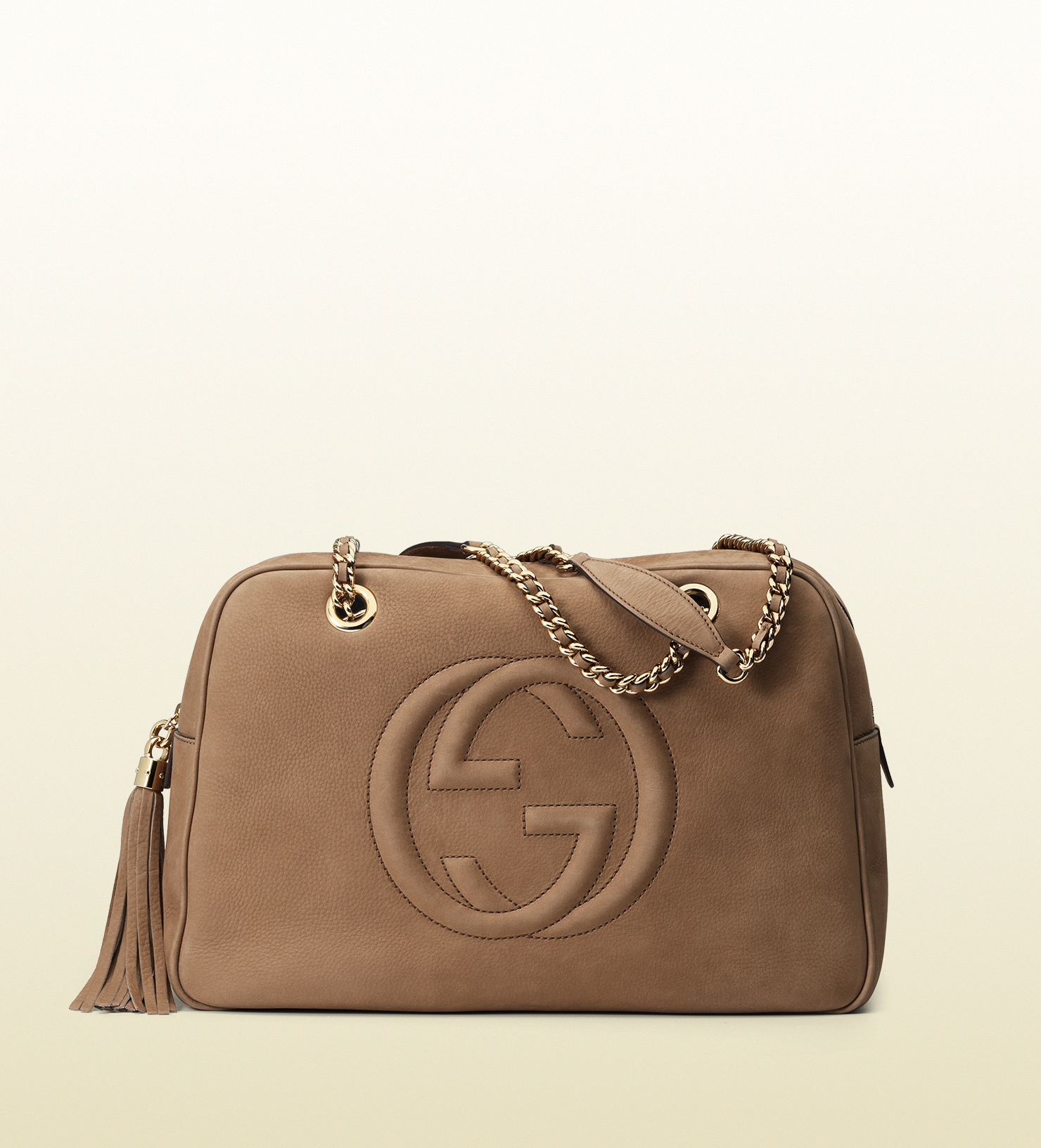 e606f8ebe452 Lyst - Gucci Soho Nubuck Leather Chain Shoulder Bag in Brown